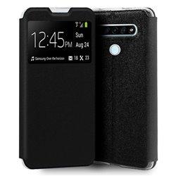 Funda con tapa y ventana para LG K61 Negro