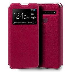 Funda con tapa y ventana para LG K61 Rosa