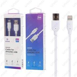 Cable Lightning 2.4A Carga y Datos para iPhone y iPad de 2 Metros