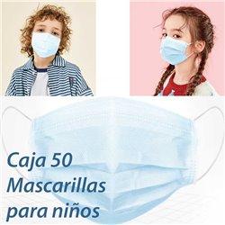 Caja 50 Mascarillas para niños, desechables de 3 capas