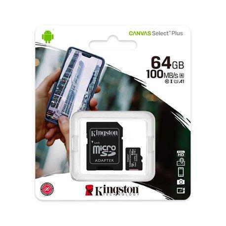 Tarjeta de Memoria Micro SD 64GB Kingston Clase 10 UHS 1 Adaptador SD