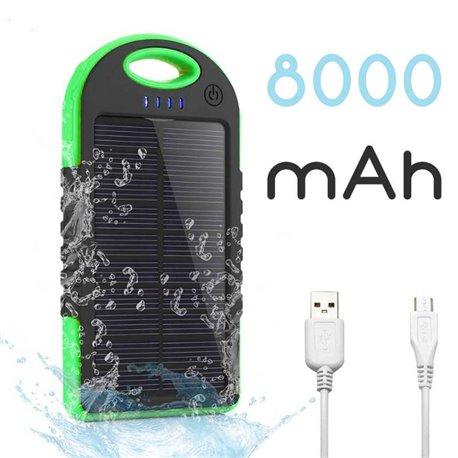 Batería Externa Solar para Móvil y Tablet de 8000 mAh Verde