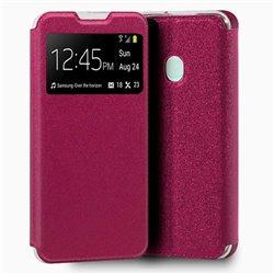 Funda con tapa y ventana para Samsung Galaxy A21S Rosa