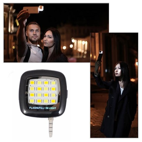 Mini Flash 16 Leds para Móviles iPhone y Android ideal Selfie Negro