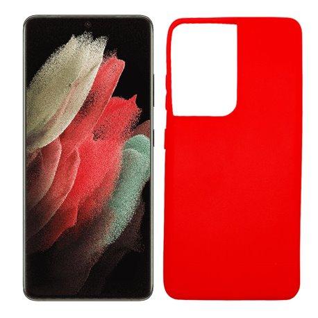 Funda roja para Samsung Galaxy S21 Ultra de silicona