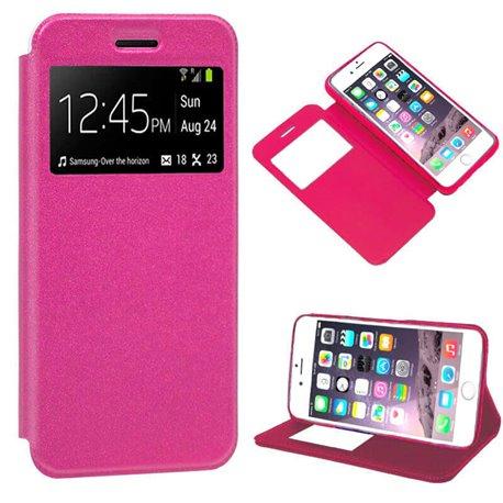 Funda Libro Flip Cover con Tapa, Ventana y Soporte iPhone 7 / 8 Rosa