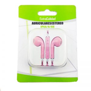 auriculares con manos libres rosa